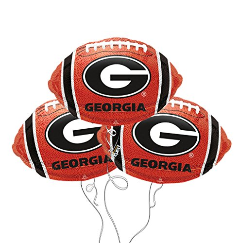 Collegiate Football Team Themed Mylar Balloon - 3 Packs (3 Pack, Georgia Bulldogs) -