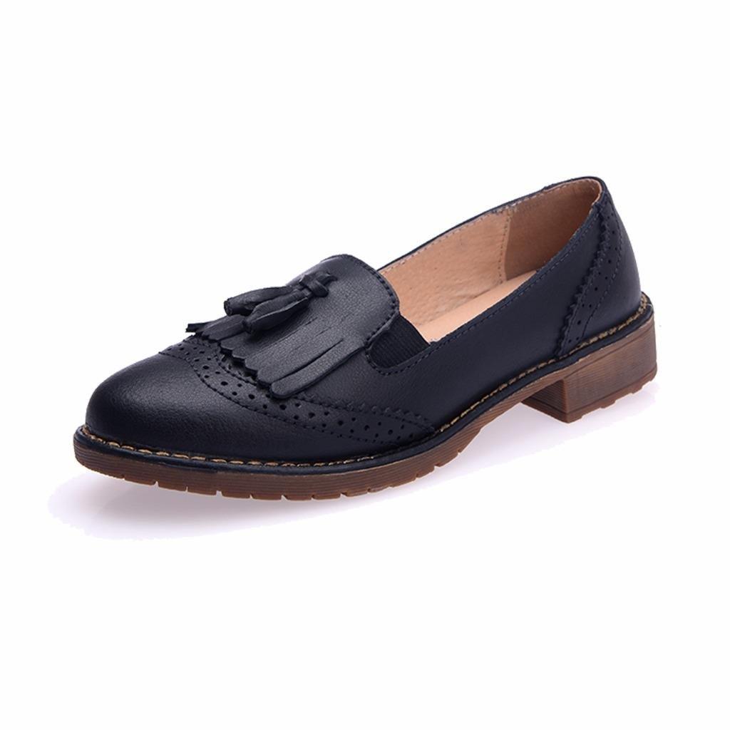 Moonwalker Mocasines de Cuero para Mujer con Lazo y Borlas: Amazon.es: Zapatos y complementos