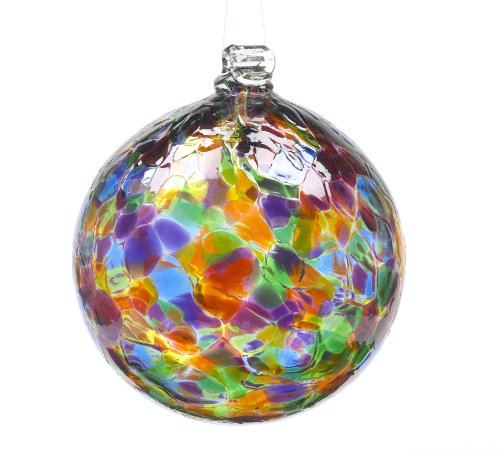 Glass Decorative Balls (Kitras 3-Inch Calico Ball, Festive/Multi)