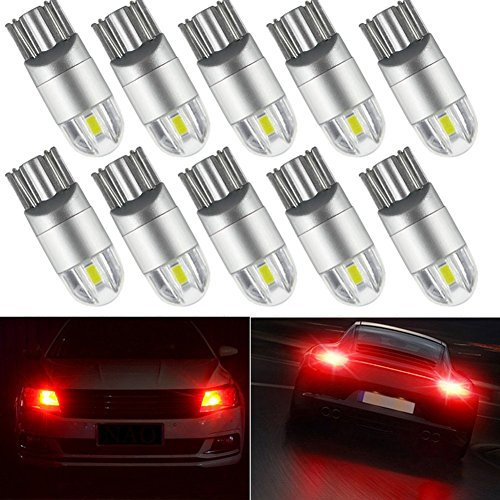 10pcs Red T10 LED Light bulbs 192 168 194 W5W 2825 158 3030 Chipsets LED Bulbs for Car Dome Map Door Courtesy License Plate Lights free shipping