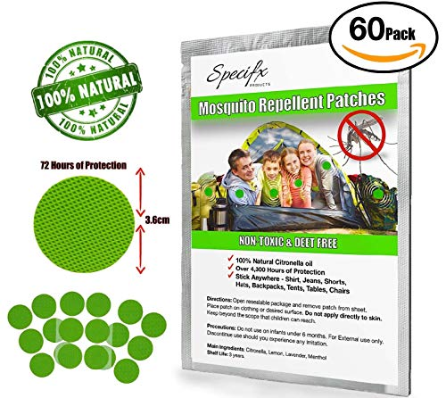 Specifx Mosquito Repellent Patch Sticker - 3.6cm Resealable (60 Pack) - 100% All Natural - Great for Travel- Safe for Infants, Kids & Adults - Anti Insect Stickers - Best Deet Free Oil Patches.