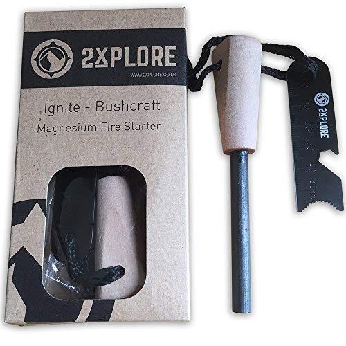 b3c7567b7cf 2XPLORE Ignite Bushcraft Fire Steel Magnesium Fire Starter Flint Striker -  Survival Tool Kit for Outdoor Camping Living Survival: Amazon.co.uk: Sports  & ...