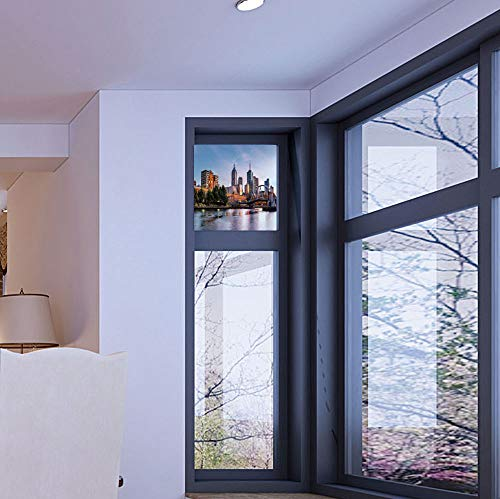 YOLIYANA Frosted Window Film Stained Glass Window Film,City,Work Well in The Bathroom,Early Morning Scenery in Melbourne Australia Famous Yarra,17''x24''
