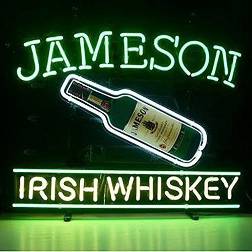 Urby™ Jameson Irish Whiskey Real Glass Neon Light Sign Home Beer Bar Pub Recreation Room Game Room Windows Garage Wall Sign 18''x14'' - Glasses Shop Whiskey