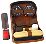 Deluxe Shoe Care Kit - Genuine 100% Horsehair Brush, 2 Durable Applicator Sponges, 2 Full-Size Tins of Black & Neutral Shoe Polish(45g), Shoehorn/Suit Brush, Buffing/Shining Cloth, PU Leather Case