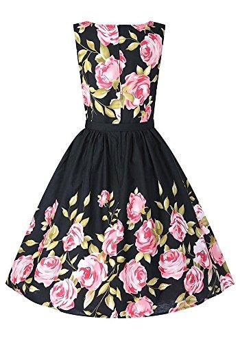 Botomi Frauen - Vintage - Swing - Kleid Blumenmustern Angegurteten Vintage - Kleid, 01.S Black, XXXL