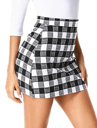 - UUANG Women's Mid Waist Zipper Bodycon Pencil Mini Skirt (Black,L)