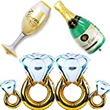 Vanproo 6-Pack Balloons Set - 4Pcs Diamond Ring Balloons + 1Pc Champagne Bottle + 1Pc Goblet Balloons, for Wedding Anniversary Engagement Bachelorette Party Decorations
