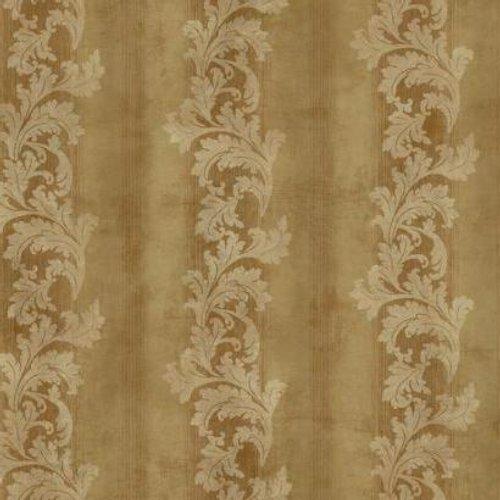 York Wallcoverings GF0814 Gold Leaf Acanthus Stripe Wallpaper, Metallic Gold/Russet/Warm Beige
