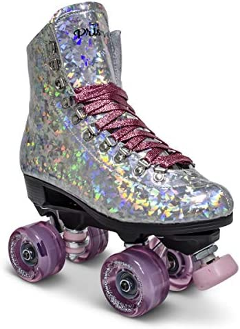 Sure-Grip Prism Sparkling Unisex Roller Skates – Indoor Outdoor Skates with Vegan Silver Reflective Boot – Made in USA