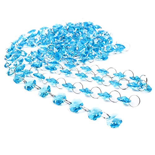 - BIHRTC 9.8ft (3 Meter) Crystal Glass Octagon Beads Strands Hanging Ornament for Wedding Table Centerpieces Wishing Tree Garland Christmas Decoration Chandelier Candelabra Decor (Blue)