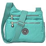 STUOYE Nylon Multi-Pocket Crossbody Purse Bags for Women Travel Shoulder Bag (Z187 Mint Green)