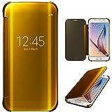 Xtra-Funky Gamme Samsung Galaxy S6 Edge PLUS modèle - intelligente Date / Heure Rétroviseur Brillant Retournez Couverture dure de cas avec le sommeil / réveil Fonction - Or