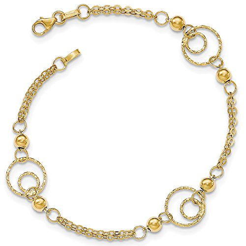14k Gold Polished and Textured Beaded and Circle Link Bracelet with Lobster Clasp - Yellow-Gold, 7.5 in (Gold Yellow Bracelet Circle)