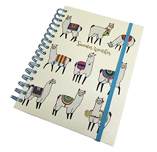 Price comparison product image Sweater Weather Whimsical Llama's Adorning Decorative & Colorful Blankets Spiral Bound Lined Novelty Notebook