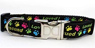 product image for PetDesignz Rescue Me Custom Engraved Dog Collar by Diva Dog (Optional Matching Leash Available) M/L