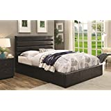 Coaster Home Furnishings Upholstered Bed Lift Top Storage in Black (King: 86 in. L x 81 in. W x 48.25 in. H)