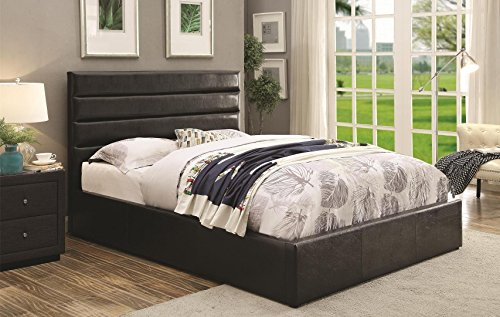 Coaster Riverbend Collection 300469F Full Size Platform Bed with Lift Top Storage Euro Slat Kit and Leatherette Upholstery in Black (Full Storage Size Bed Lift)