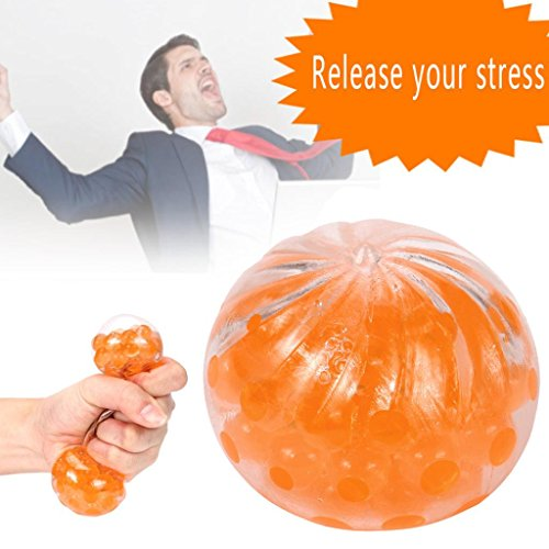 Slow Rising Squishies Jumbo,Todaies 2018 Clearance New Spongy Bead Stress Ball Toy Squeezable Stress Squishy Toy Stress Relief Ball (Orange)