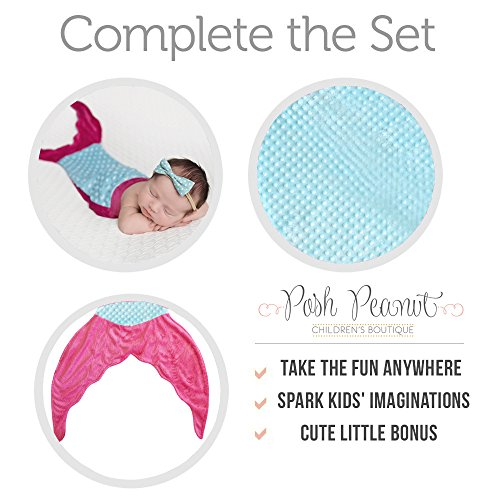 PoshPeanut Mermaid Blanket Softest Minky Comfy Cozy Blankie for Kids Ages 3-13 with FREE Toy Doll Blanket Included (Turquoise / Pink)