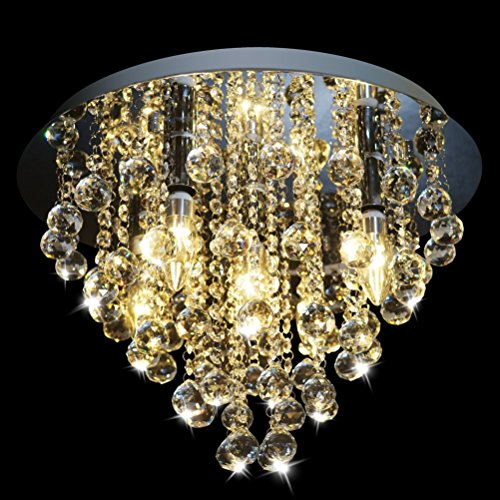 Dst Crystal Chandelier Lighting, Modern Chandeliers Crystal Ball Light Fixture with 5 Lights, Flush Mount LED Ceiling Light for Hallway, Bedroom, Living Room, Kitchen, Dining Room, Size D18 H13