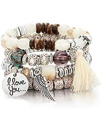 Beaded Bracelet for Women Girls Multilayer Bohemian Strand Bangle Charm Stretch Bracelet Beach Boho Jewelry