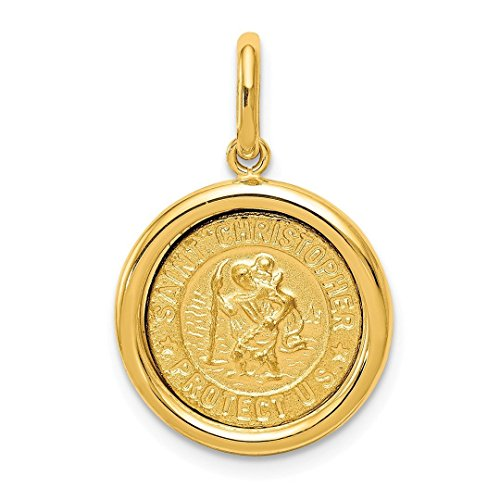 14k Yellow Gold St Christopher Medal Pendant Charm Necklace Religious Patron Saint Fine Jewelry For Women Gift Set ()