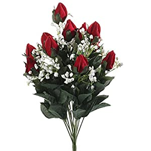Factory Direct Craft Set of 2 Rich Red Velvet Artificial Rose Bushes for Floral Arranging, Crafting and Displaying 109