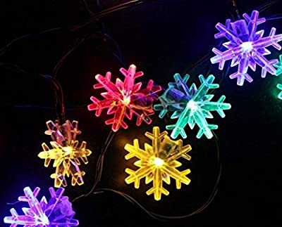 SPLOcolor Solar Christmas String Lights Outdoor 20ft 30 LEDs Waterproof 8 Modes Solar Snowflake Powered Fairy String Lights Patio Lights Indoor Outdoor Lighting for Patio Holiday Party