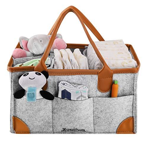 - Zooawa Diaper Caddy Organizer, Portable Felt Large Nursery Storage Car Travel Organizer Toy Organizer Nappy Organizer Storage with Handle Carrying, Gray