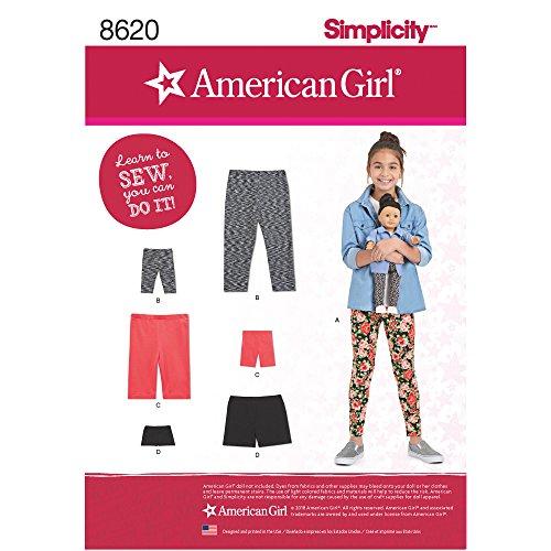 Simplicity Creative Patterns US8620K5 American Child's, Girls' & Doll Leggings Pattern, K5 (7-8-10-12-14)
