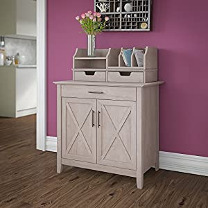 Bush Furniture Key West Secretary Desk With 5 Shelf Bookcase, Washed Gray, Secretary Desk with Desktop Organizers