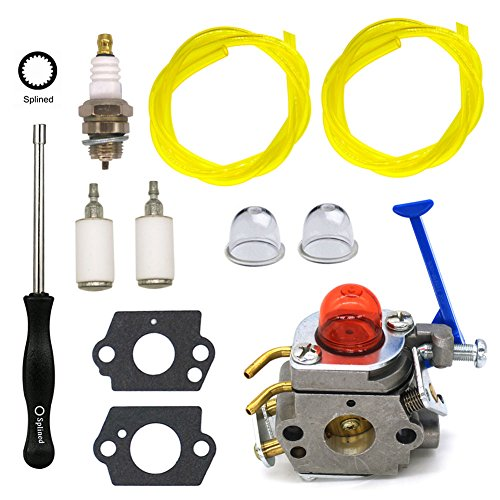 NIMTEK C1Q-W40A Carburetor with Adjustment Tool Repower Kit Fuel Line Filter for Husqvarna 124L 125L 125LD 128C 128CD 128L 128LD 128LDX 128R 128RJ 128DJX String Trimmer Parts by NIMTEK