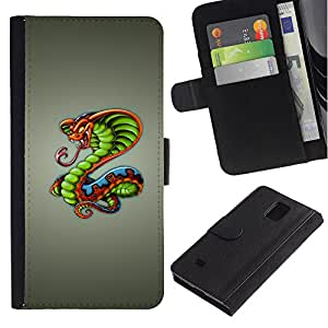 Planetar® Modelo colorido cuero carpeta tirón caso cubierta piel Holster Funda protección Para Samsung Galaxy Note 4 IV / SM-N910 ( King Cobra Snake )