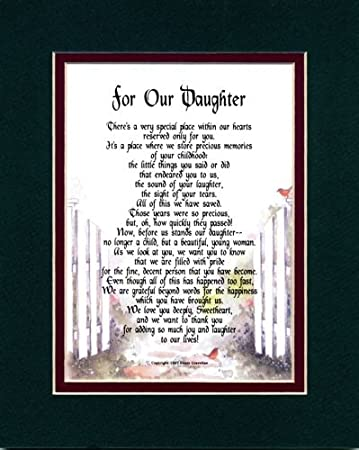 By Being the Wonderful Daughter You Are Poem Rose Photo 8x10 Matted Special Birthday or for Daughters. Daughter Gift with You Have Touched My Life in Many Ways