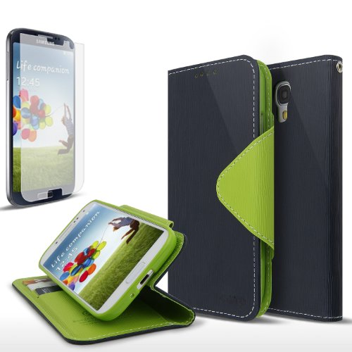 Galaxy S4 Case, Cellto Wallet Diary [Slim Ultra Fit] [Navy Green] Cover [ID Pocket] for Galaxy S IV Galaxy SIV i9500 (Case Lime S3 Samsung Green Galaxy)