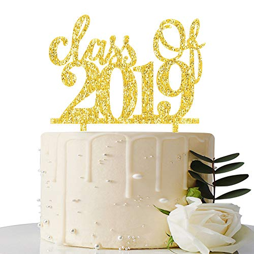 - Class of 2019 Cake Topper - 2019 Graduation Party Decorations Supplies - Graduation Cake Topper - Grad Party Supplies (Gold)