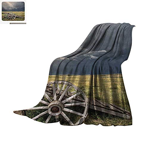 Barn Wood Wagon Wheel Digital Printing Blanket Cloudy Day in Village Farm Aged Vintage Cart Outdoors Oversized Travel Throw Cover Blanket 50