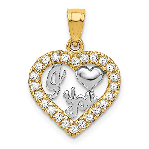 14k Yellow Gold Cubic Zirconia Cz I Heart You Pendant Charm Necklace Love S/love Message Fine Jewelry Gifts For Women For Her