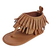 Girl Sandals, Infant Kids Girl Soft Sole Crib Shoes Newborn Tassels Sandals Shoes by kaifongfu (2❤️❤️Age:6~12 Month, Brown)