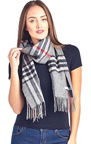 Mariyaab 100% Lambswool wool Men and Women Plaid Pashmina Scarf (911070, GreyBlackRed)