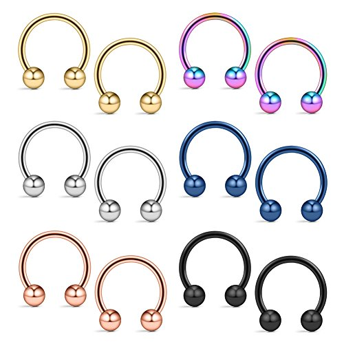 Ruifan 12PCS Assorted Colors Surgical Steel CBR Non-Piercing Fake Nose Septum Horseshoe Earring Eyebrow Tongue Lip Piercing Ring with 5mm Balls 14G 12mm