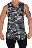 YoungLA Long Tank Tops for Men Muscle Shirt Bodybuilding Gym Athletic Training Sports Everyday Wear 306 Camo Black Small