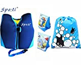 Rayma Baby UPF 50+ Life Jacket New Swimming Learner Protection Vest New Added Cross Belt for Safety For Baby New Added Cross Belt Package With Arm Bands And Beach Bag (Blue, S 20-33lbs)
