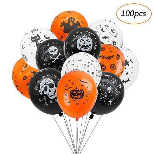 Balloons For Halloween Decoration, 100 Pieces Premium Latex Balloons 12 Inches Halloween Party Skeleton Bat Specter Pumpkin Spider Web Latex Balloons in 12 Types]()