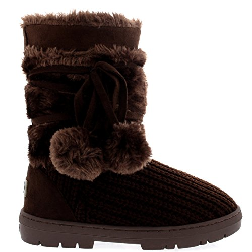 Womens Pom Pom Waterproof Winter Snow Boots Brown Knitted SKzPnyX