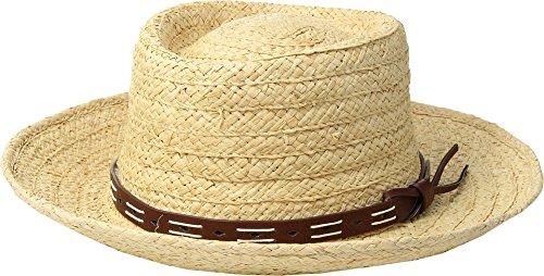 (San Diego Hat Company Men's Raffia Gambler w/Faux Leather Band Natural LG/XL)