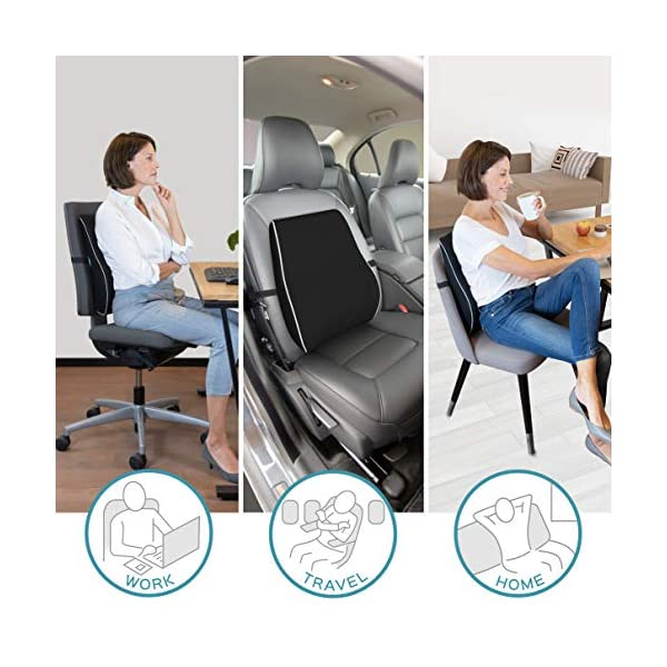 Grey Pillow Lumbar Lower Back Support Cushion Pain Relief Seat Posture Corrector