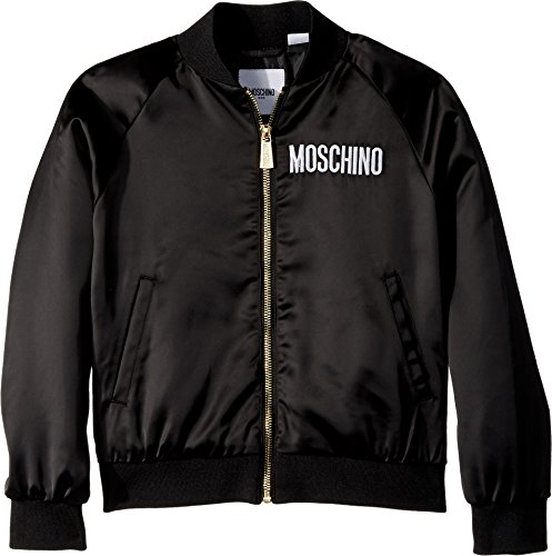 Moschino Kids Girl's Jacket w/Sequin Teddy Bear on Back (Little Kids/Big Kids) Black 8 by Moschino Kids