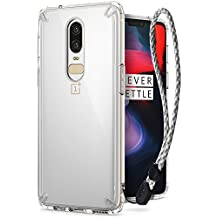 OnePlus 6 Case, Ringke [FUSION] Crystal Clear PC Back Case [Anti-Cling Dot Matrix Technology] Lightweight Upgraded Transparent TPU Bumper Drop Protective Cover with Wrist Strap - Clear